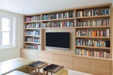 دکور تلویزیون با کتابخانه